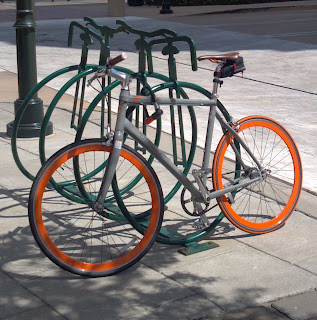 bicycle rack that looks like a high-wheel