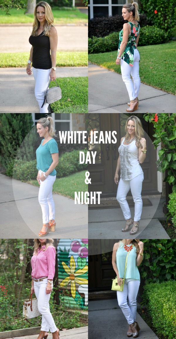 white jeans day night