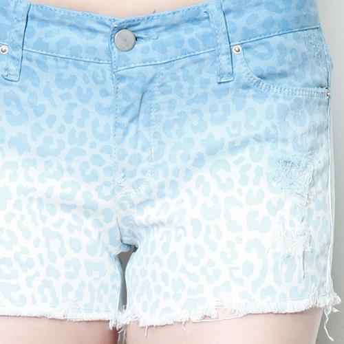 Leopard Print Ombre Denim Shorts