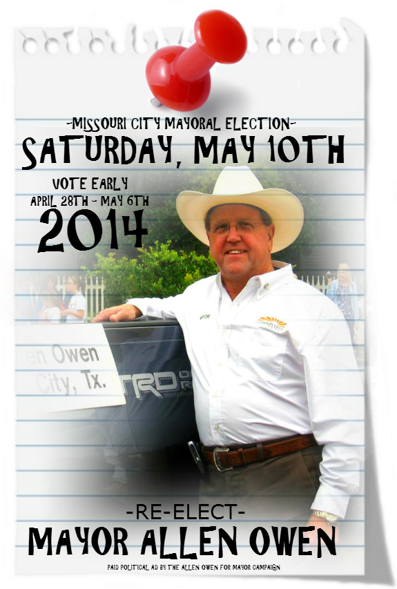... may 10th 2014 in the missouri city texas 2014 mayoral election