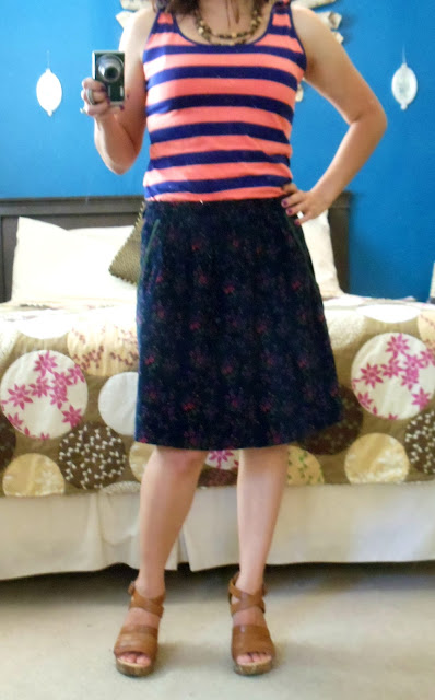 FLOWERED SKIRT REDO, STRIPED SHIRT REDO