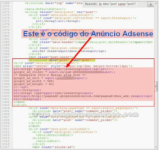 Anuncios do Adsense Abaixo do Primeiro Post do Blogger