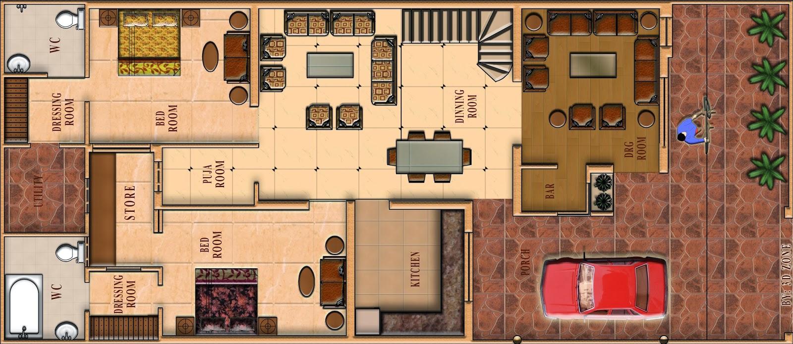 Floor plan design in photoshop for Rendered floor plan
