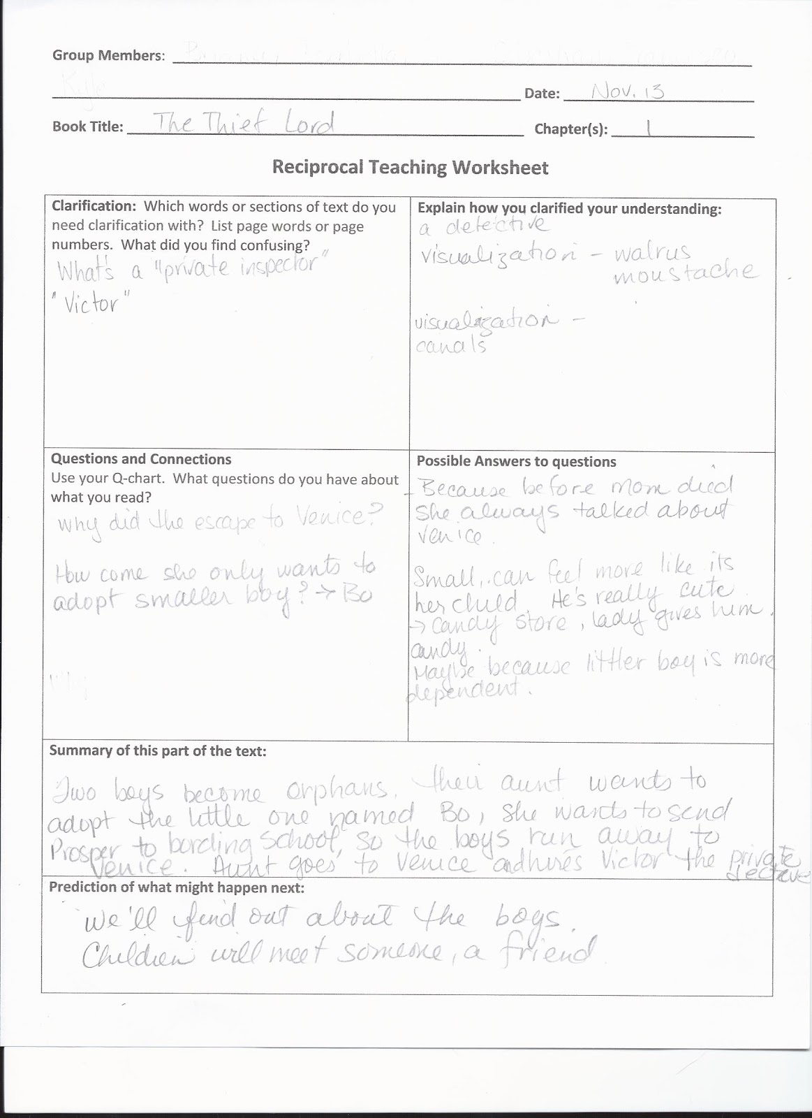 Making Shift Happen Reciprocal Teaching – Reciprocal Teaching Worksheet