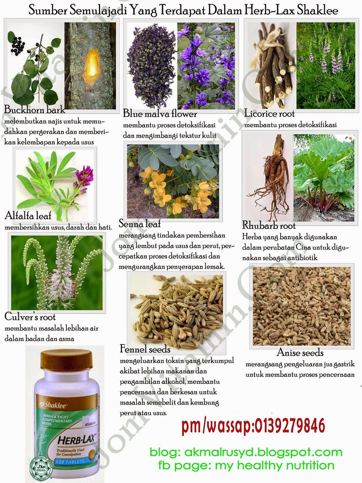 kandungan Herb-Lax Shaklee