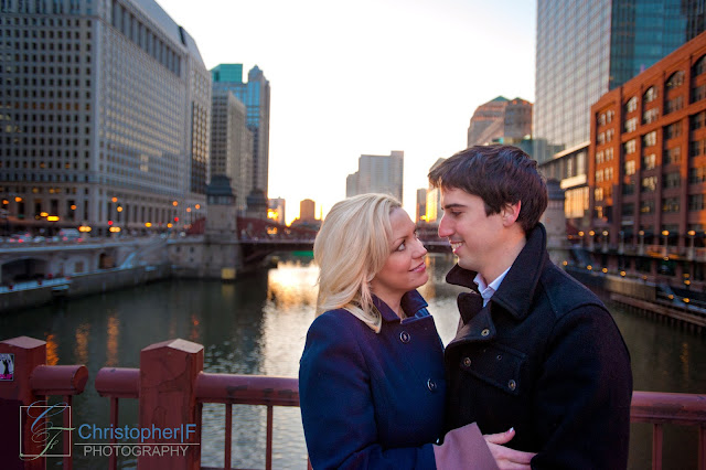 Chicago Sunset Engagement Photo River Bridge