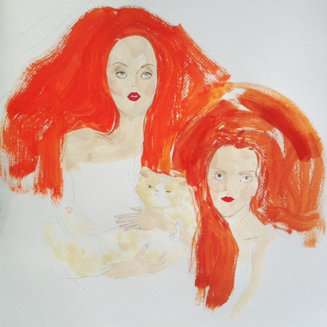 Kitty N. Wong / redheads painting of lily cole and karen elson WIP