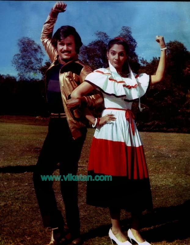Rajinikanth & Madhavi in 'Thambikku Entha Ooru' (1984) Tamil Movie