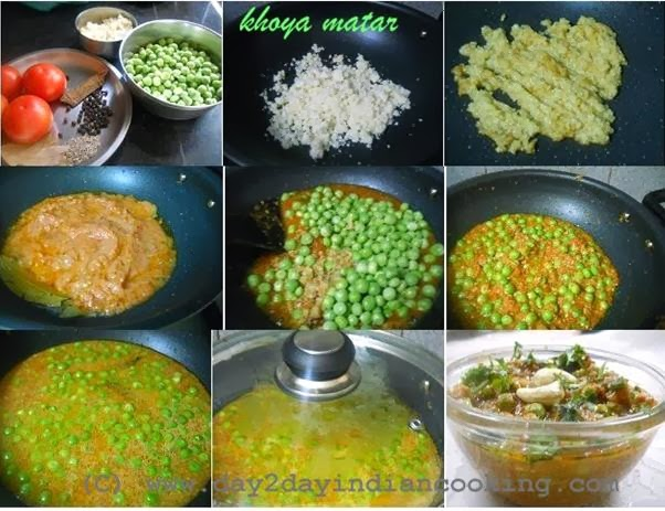 step by step instructions of making the recipe of khoya matar