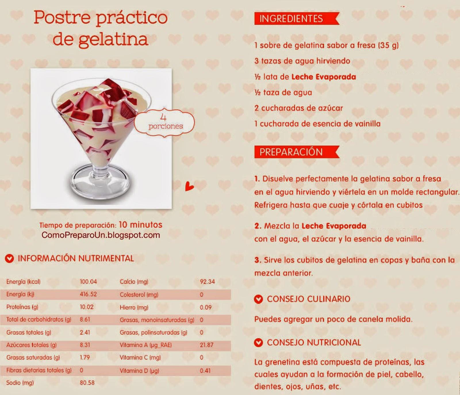 RECIPES - POSTRE PRÁCTICO DE GELATINA - Recetas por el Dia de San Valentín