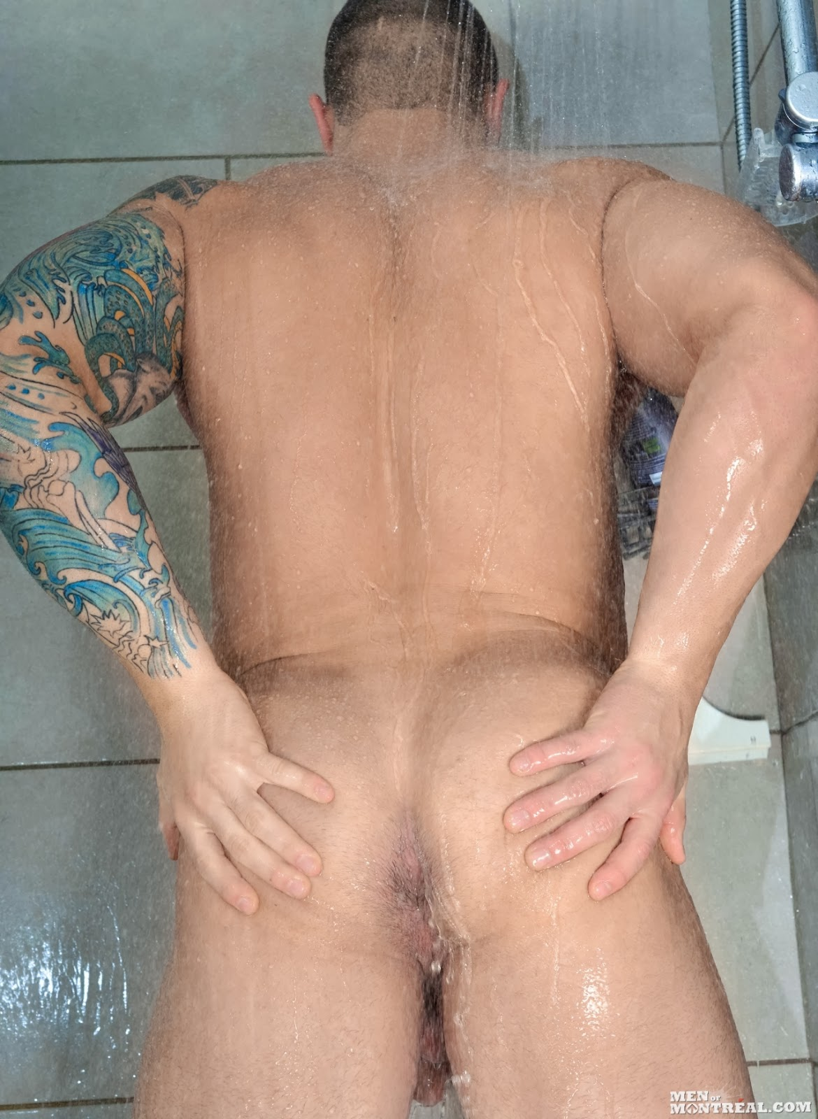 two gay men in shower