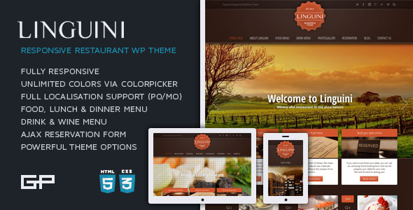 Image for Linguini – Restaurant Responsive Theme by ThemeForest