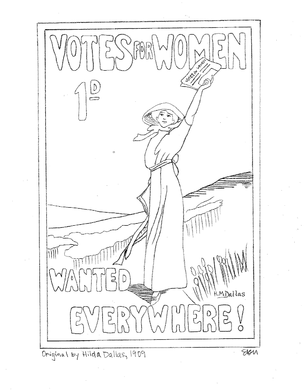 PDF File of Votes for Women Coloring Page title=