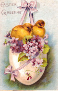 It's hard not to fall for the pretty frothy Easter scenes. easter chicks hanging egg basket