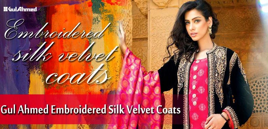 GulAhmedEmbroideredSilkVelvetCoats wwwfashionhuntworldblogspotcom 0001 - Gul Ahmed Embroidered Silk Velvet Coats 2014