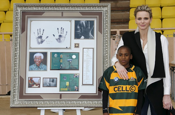 The children shared beautiful moments solidarity and fair play with Princess Charlene.