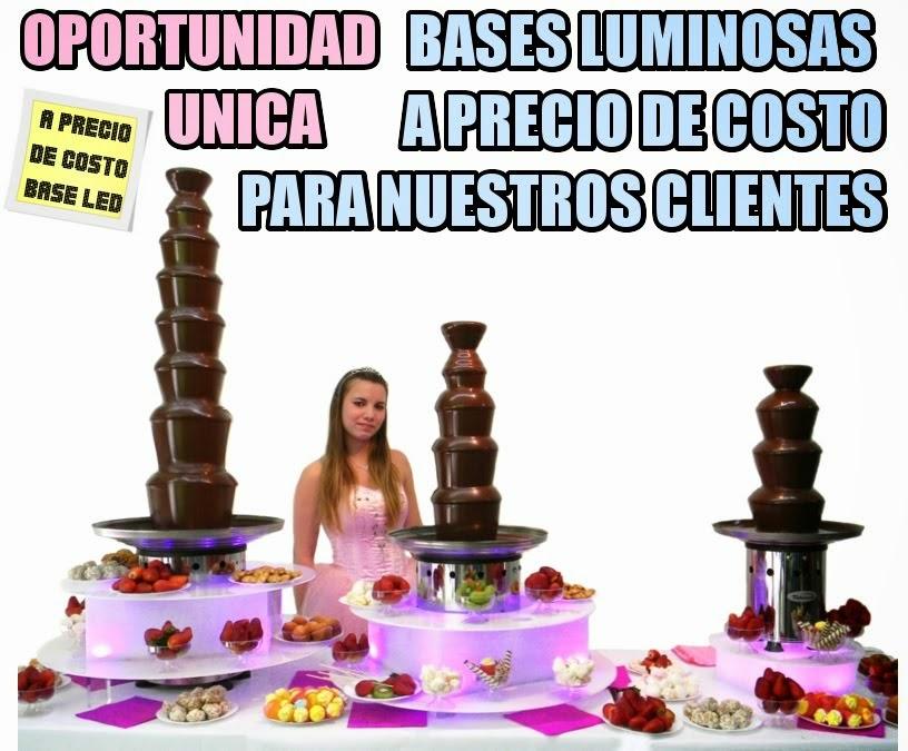 bases luminosas para cascada de chocolate