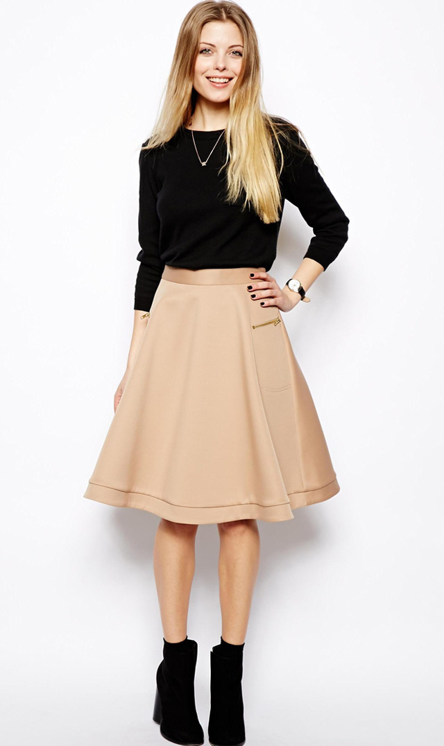 How to wear midi skirt and ankle boots, casual #workwear outfit idea, fashion and style, online store, shopping for womens clothing online