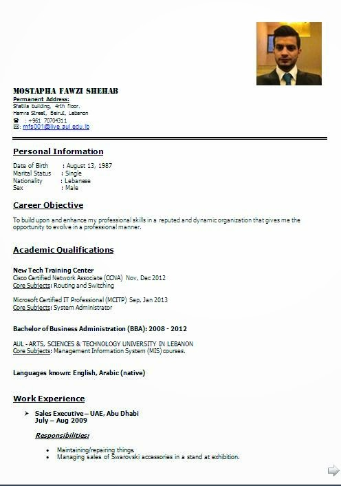 best resume format for it freshers
