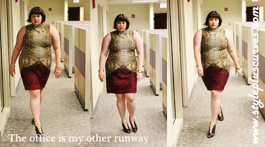 Amber from Style Plus Curves in Plussize Animal Print Mock Neck Sheath by Ashley Stewart