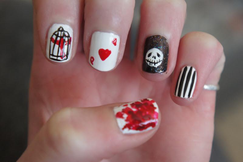 e-elise etc: Tim Burton Inspired Nail Art