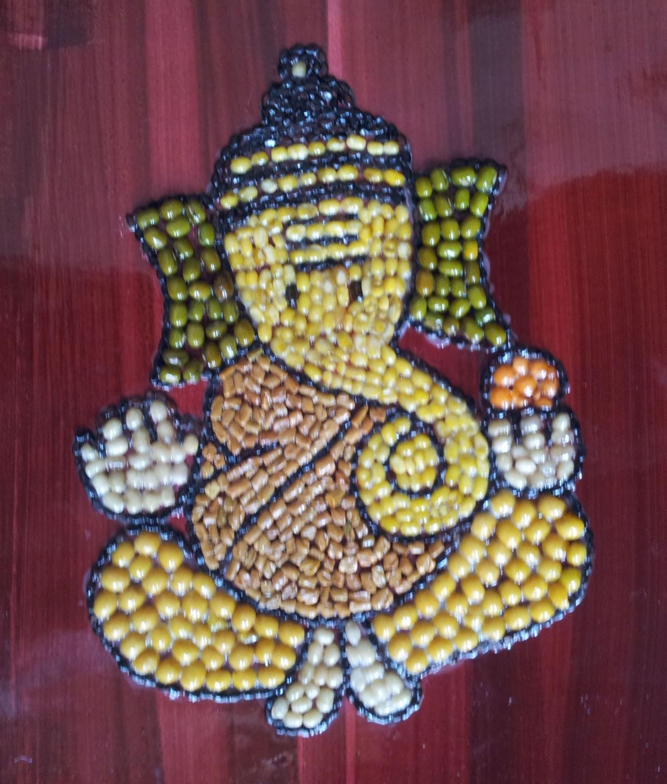 My craft gallery navdhanya ganpathy for Art and craft painting
