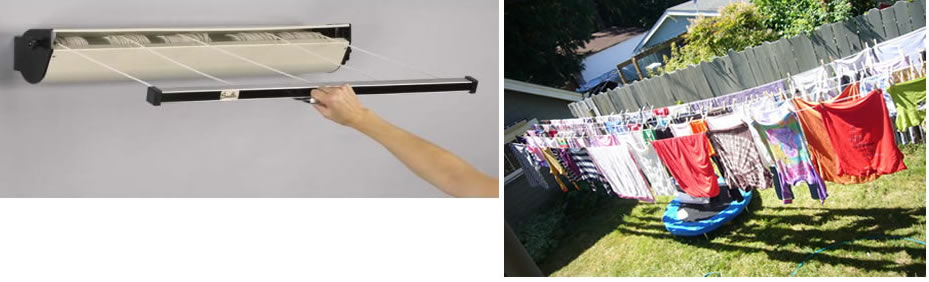 Awesome Household Essentials 5 Line Retractable Clothesline (left) In Action (right)