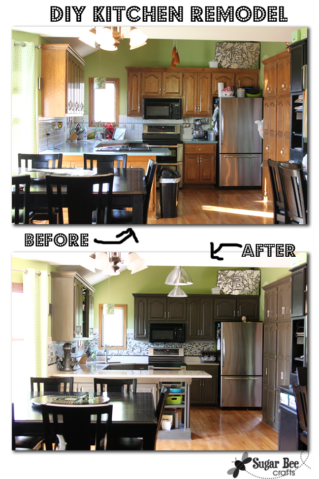 Diy kitchen remodel the big reveal sugar bee crafts for Diy kitchen cabinets