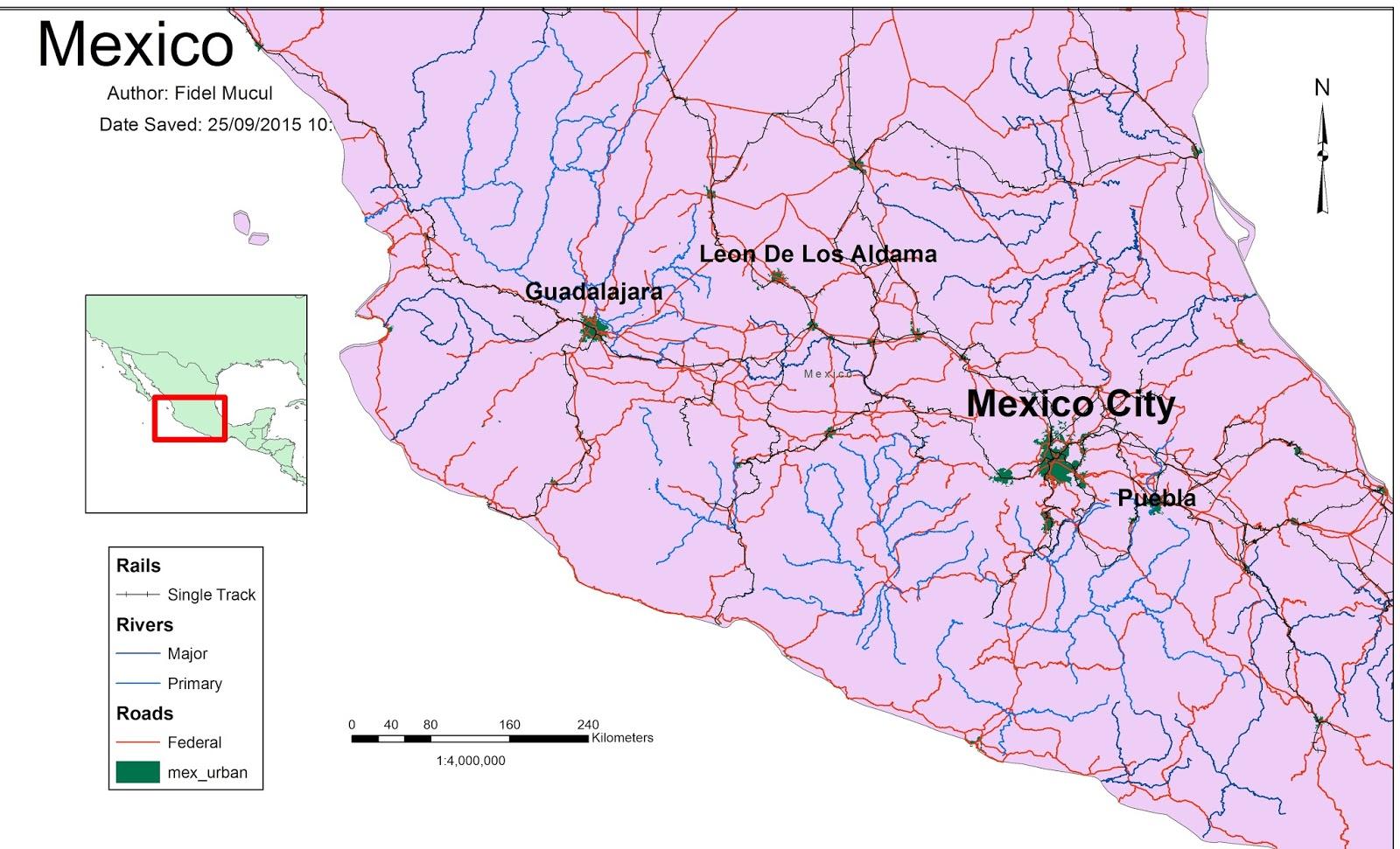 Fidels GIS Explorations Map of Mexico – Map Puebla Mexico