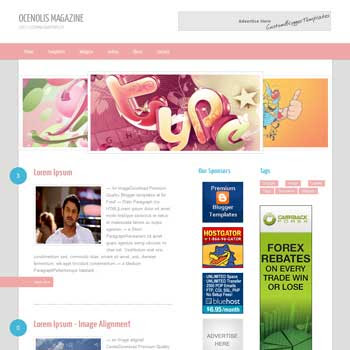 Ocenolis Magazine blog template. template image slider blog. magazine blogger template style. wordpress them to blogger template