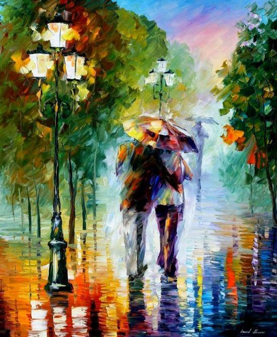 Leonid Afremov deviantart pinturas românticas impressionistas cores casais sob a chuva