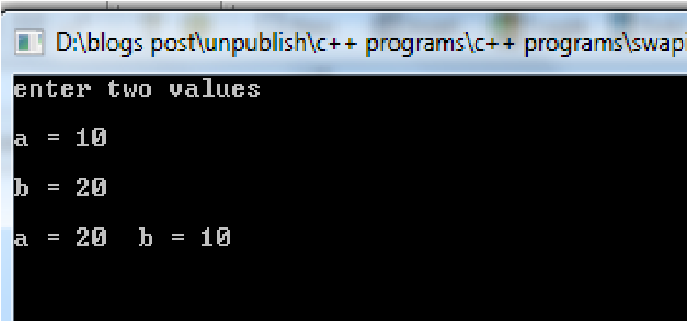 C++ Program to Swap two numbers using call by value
