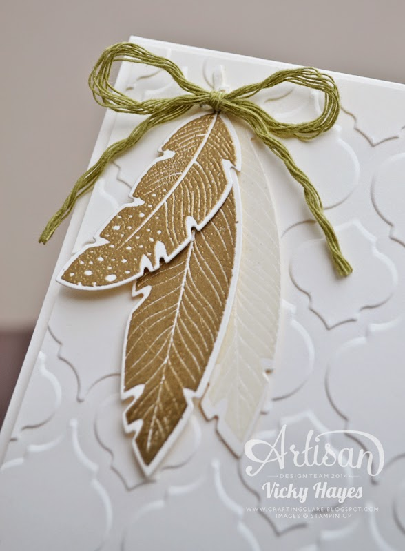UK Stampin Up demonstrator Vicky Hayes embellishes with gold embossed feathers - buy stamps and framelits at 15% discount