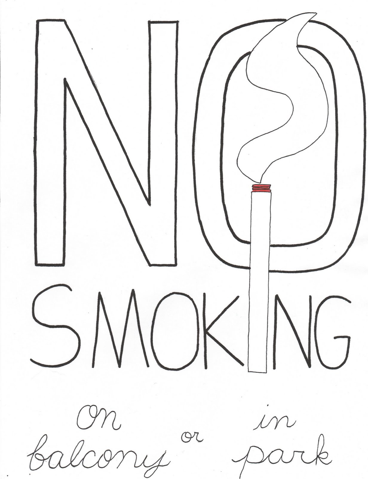 No for No smoking coloring pages