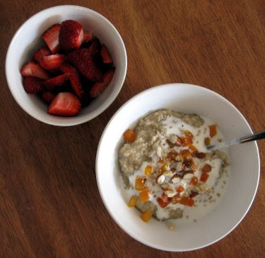 farmer's market strawberries and oatmeal with yogurt