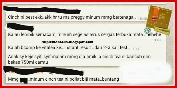 testimoni Cinch Energy Tea Mix