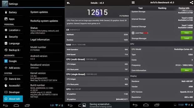 Fukuda FCT-93RK8 Android Tablet antutu benchmark