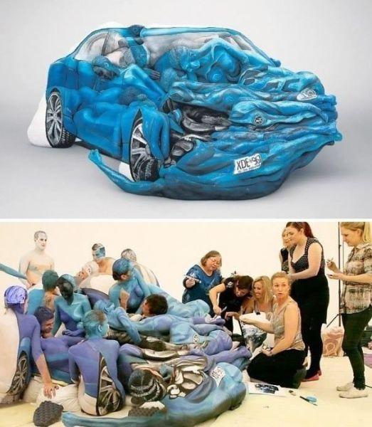 Carro derretendo feito por pessoas