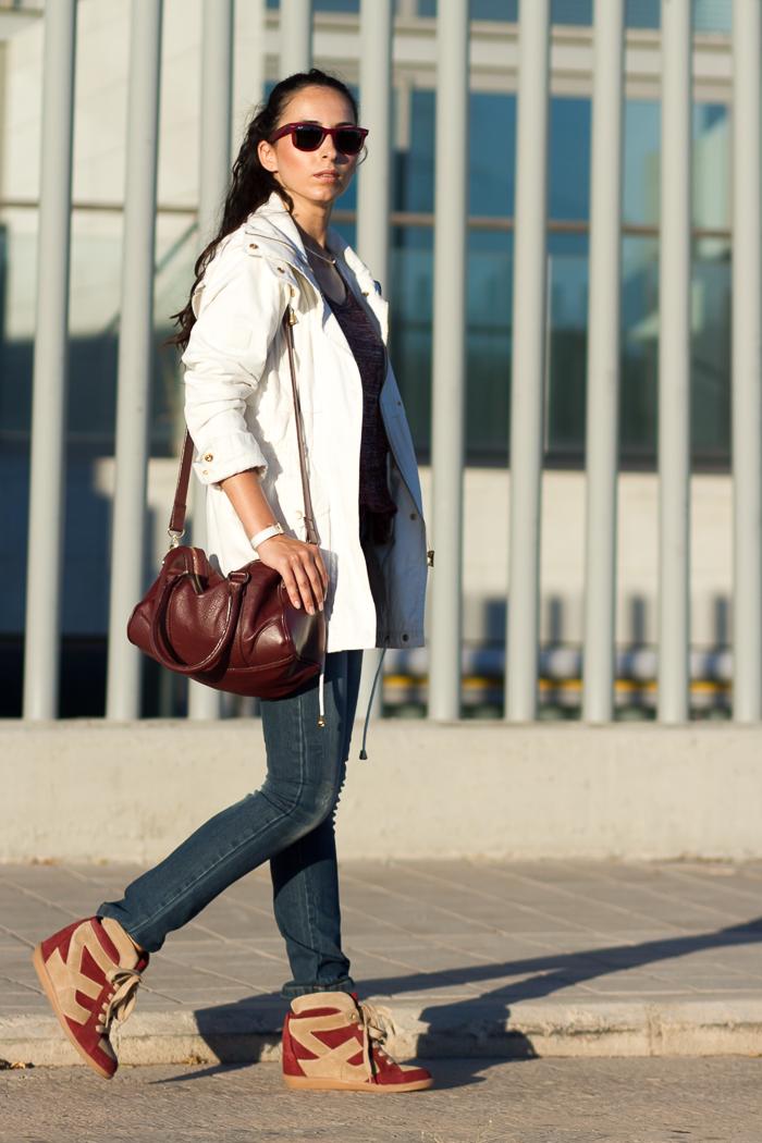 White parka-Jennyfer-Ray-Ban Wayfarer-Special Edition-Red Matte-Spanish-Fashion Blogger