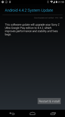 Sony Xperia Z Ultra Google Play Edition 4.4.2 update