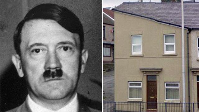 house that looks like hitler. house looks like Hitler so
