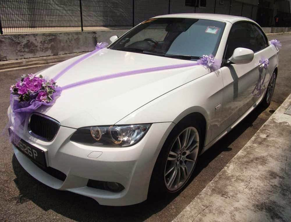 Wedding Car Decoration With Purple Flowers Pictures hd