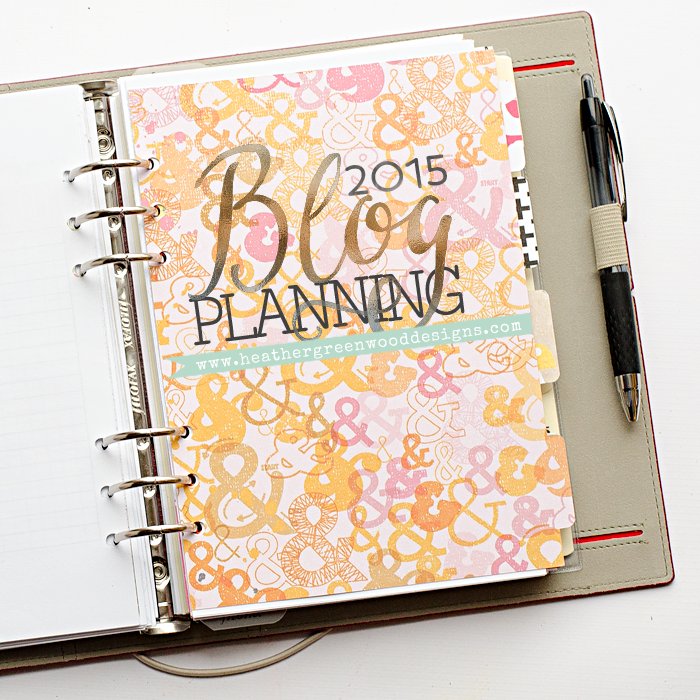 decorated a5 2015 Domino FiloFax® using scrapbook papers, Silhouette® cut files, and Blogger Planner by Mama Miss Designs