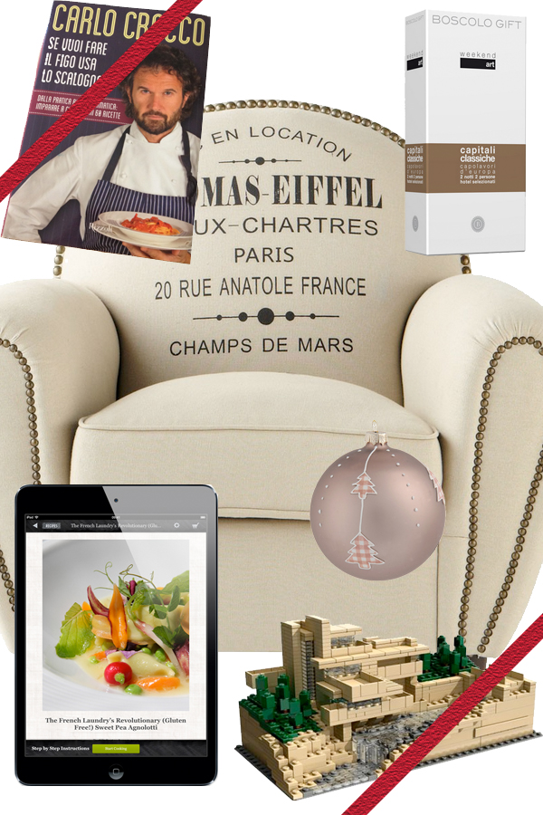 Cracco's recipes book, Boscolo gift, Ipad mini, Lego Fallingwater Residence by Frank Lloyd Wright, Chair Maison du Monde
