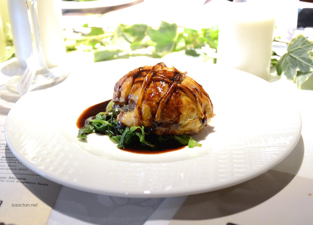 Foie Gras & Duck Pâté en Croûte with Baby Spinach and Red Wine Sauce