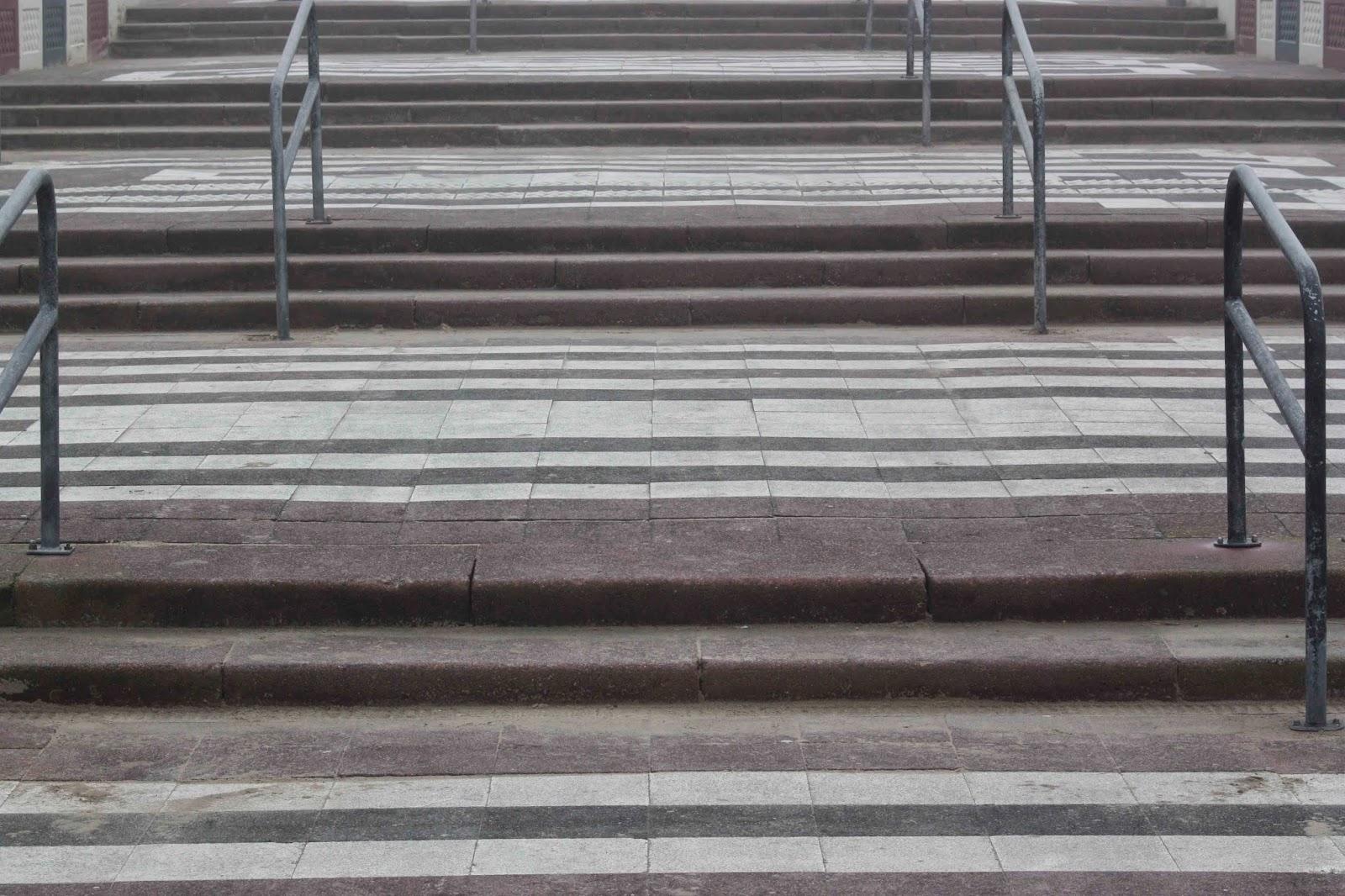 steps in striped sidewalk