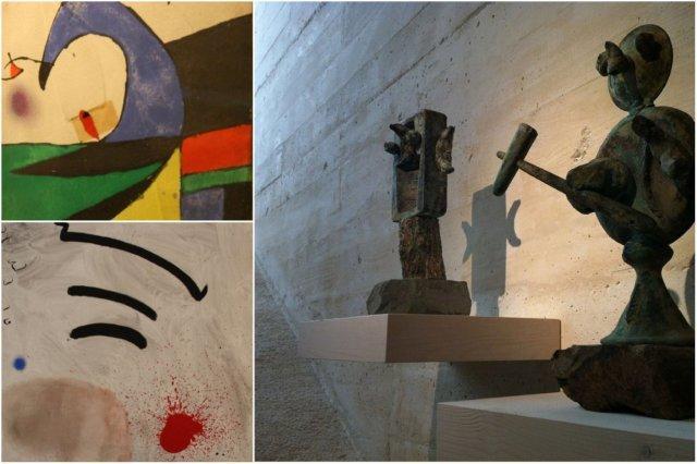 Cuadros y esculturas en la Fundacion Pilar y Joan Miro en Mallorca