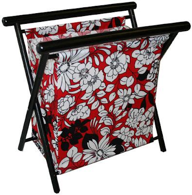 knitting basket / bag, framed, floral print