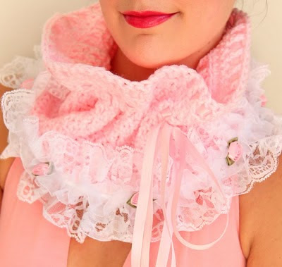 Light Pink Crochet Cowl Neck Warmer by Mademoiselle Mermaid