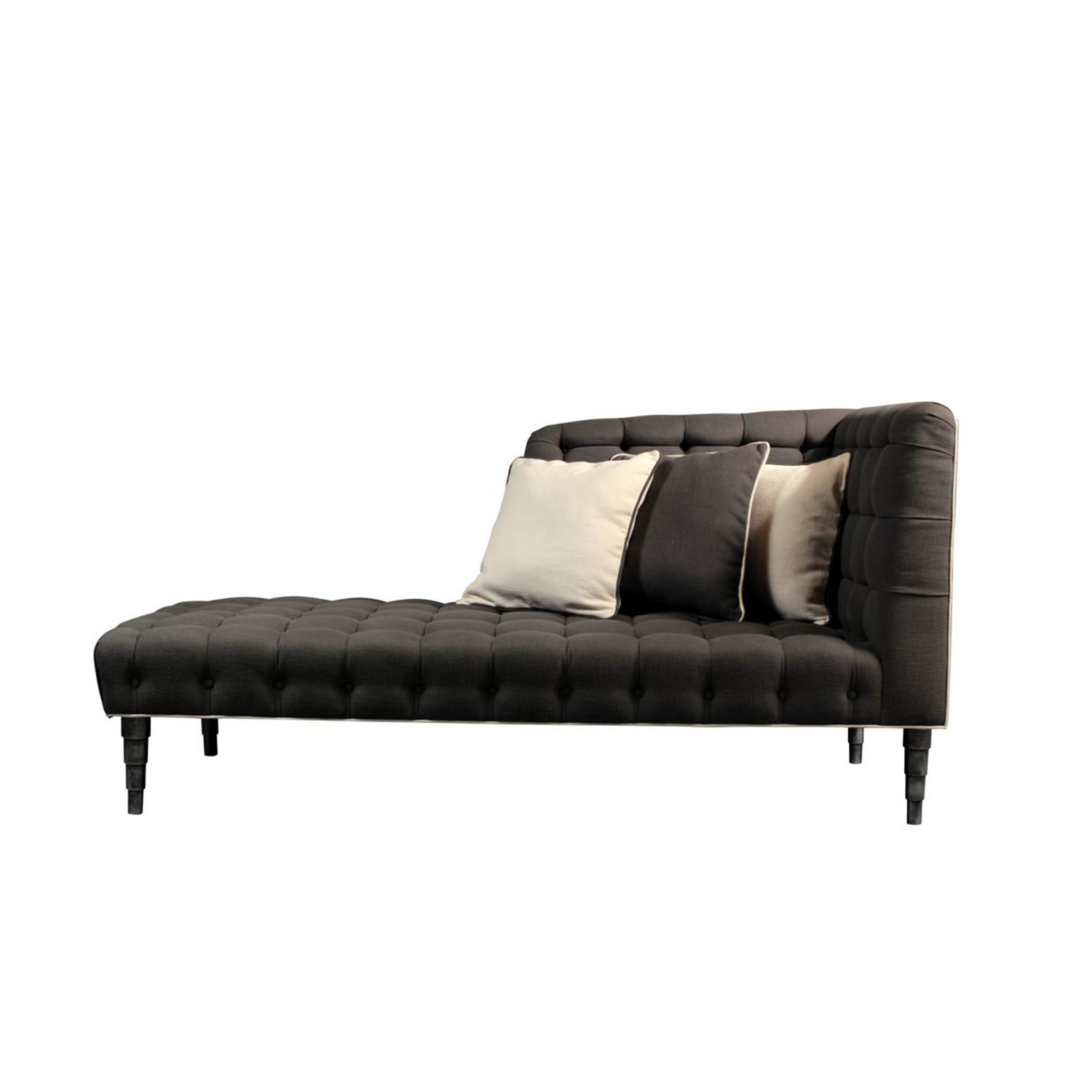Anderson Charcoal and Cream Tufted Linen Chaise